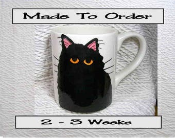 Black Cat Mug Original Handmade With Paws On Back by Grace M Smith