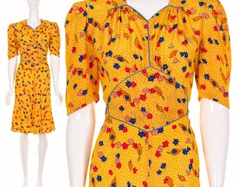 40's French Yellow Floral Dress Retro Madmen Dress Pinup Dress Rockabilly Dress Swing Dress Bias Cut Dress Small Medium
