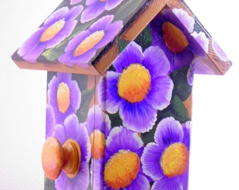 Flowered Cedar Birdhouse , Golden Brown with Purple Flowers , Window to See In , Side Door for Easy Clean Out