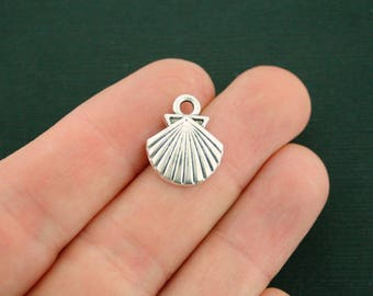 10 Seashell Charms Antique Silver Tone - SC6992