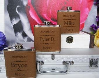 6 Wedding Flask Set Personalized