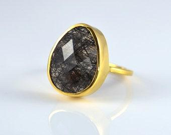 Large Rutilated Quartz Ring - Statement ring - Stackable Ring - tear drop ring - Bezel Ring - Gemstone Ring - Birthstone Ring - Gold Ring