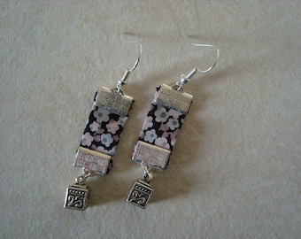 Grey liberty earrings with cube charm