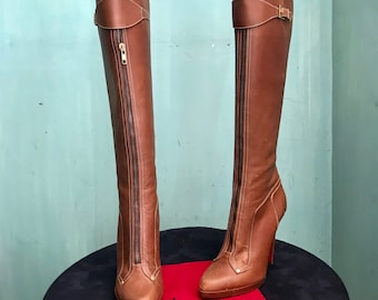 Christian Louboutin 9.5-10 (40.5) custom made platform boots brown/luggage leather stiletto