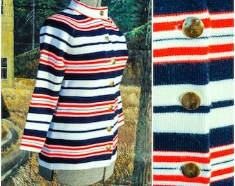 1960s Sweater, Striped Sweater, Striped Cardigan, Blue Sweater, Red Sweater, Size Medium Sweater, Size 8, Fitted Sweater, Horizontal Stripes