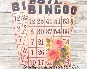 Rose Bingo Cards, Vintage Image of roses, Black White Bingo Card, Scrapbooking, Cardmaking, Love, Rose Bingo Card, Altered Art, Digital Art