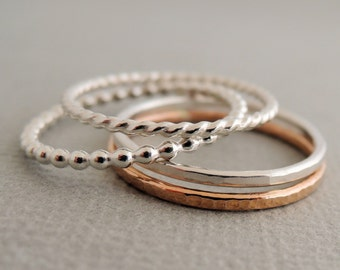 Rose Gold Ring Sterling Silver Rings gift for mum 4 thin mixed stacking rings