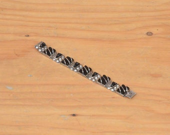 """Vintage Made In Mexico """"Taxco"""" Sterling Silver .925 Bracelet w/ Black Stones 35.5g - 6"""" Aztec Face Silver Link Collectible 1940's 1950's"""