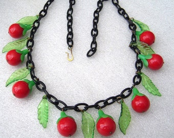 Vintage cherries & leaves early plastic necklace