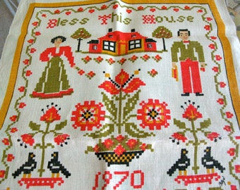 Bless This House 1970 Calender Tea Towel