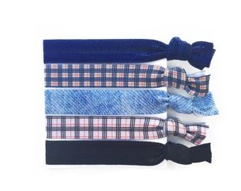 Plaid Elastic Hair Ties Preppy Hair Tie Bracelet Denim Ponytail Holder Blue Plaid Hair Accessory Set