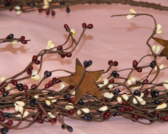 Berry Garland   Country Mix Pip Berry Garland   Pip Berry Star Garland   Rustic Garland   40-42  Inches   FREE SHIPPING USA   Ready-to-Ship