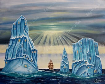 Original painting, oil color, Surrealism, Cityscape, Iceberg, Newfoundland, Landscape, Canadian artwork, North American art