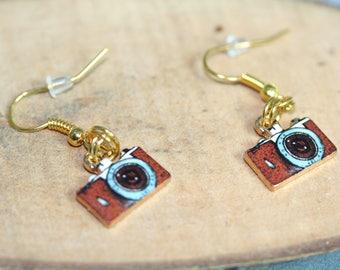 Earrings cameras, brown retro cameras, free shipping
