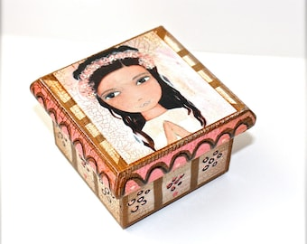 Mixed Media First Communion Box -  Folk Art  by FLOR LARIOS