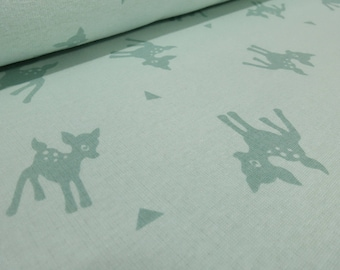 Fabric Sweatshirtstoff with Alpenfleece side Bambi Deer Kitz mint (17.00 EUR/meter)