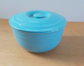 Vintage Covered Bowl • Pottery Covered Mixing Casserole Bowl • Vintage Blue Bowl with Lid