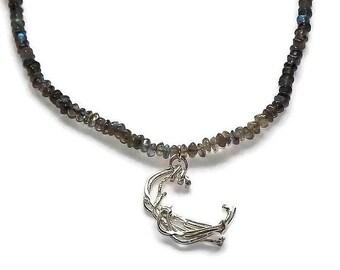 labradorite necklace, grey gemstone necklace, sterling silver necklace pendant, birthday gift for women,  labradorite jewelry