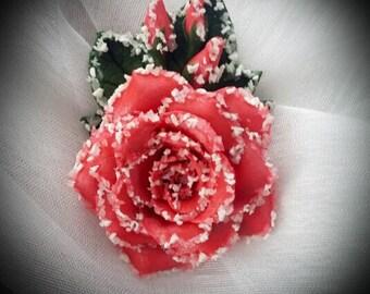 Polymer clay frozen rose brooch