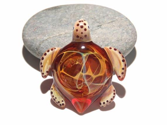 Glass Pendant - Cosmic Red Turtle Pendant - Glass Jewelry - Hand Blown Glass - Turtle Pendant - Handcrafted Necklace - Borosilicate Turtle