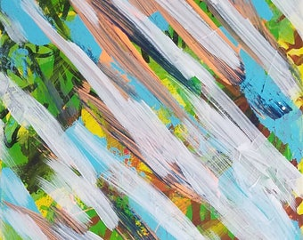 """White, Blue, Orange, Yellow, Green and Black Original Acrylic Abstract Painting on Canvas """"Series 4 XCII"""" Wall Art, Home Decor, Artwork"""