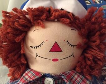 Raggedy Andy Doll Awake/Asleep Doll Applause/Cloth Rag Doll/ Knickerbocker Doll/by Gatormom13 JUST REDUCED