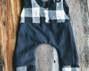 Boys trendy romper, made to order, cutom color and size, black and white