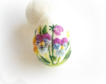 Easter Egg,Pansy,Felted Egg,Needle Felted Easter Egg with Pansy,3D,Soft Sculpture,Miniature Original Art