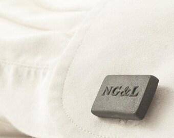 Engraved Cufflinks in Gray Porcelain, Mens Personalized Cufflinks, Custom Cufflinks,  Personalized Wedding Cufflinks, Groom Cufflinks
