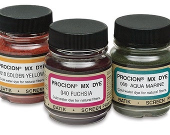 You Choose Three Jacquard Procion MX Dye 2/3 Oz. Jars -  Free Shipping