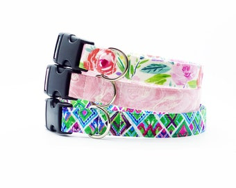 Small Dog Collar, Marble Blush Dog Collar, Floral Dog Collar, Girl Dog Collar, Watercolor Flower Dog Collar, Pet Collar, New Puppy Collar
