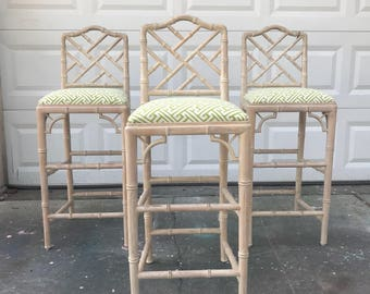 Set of 3 vintage Chinese Chippendale Barstools - faux bamboo design and chinoiserie fretwork - palm beach chic