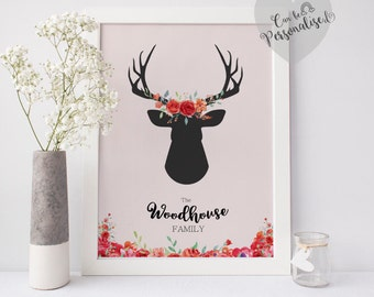 Personalised Stag Head Print, Personalised Family Print, Custom Stag Head, Stag Decor,Deer Art Print, Floral Home Decor, Housewarming Gift