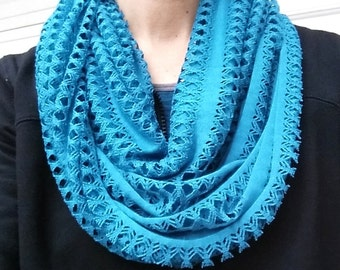 Infinity Scarf Open Weave, Teal Accessory, Gift for Her, READY TO SHIP Today