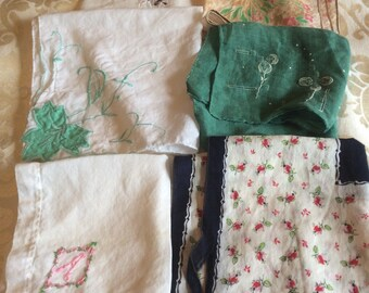 Variety of Six Vintage Handkerchiefs