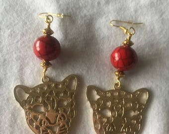 Red and Gold Leopard Earrings