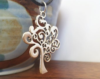 Silver tree necklace - layering necklace - abstract tree charm necklace - nature jewelry - tree of life necklace