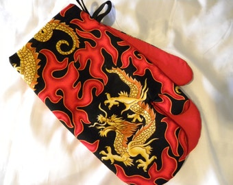 Oven Mitts, Chinese Dragon Red Fire Flames Father's Day Gift 1950's Hot Rod Flames Chinese Oven Mitts Dragon Oven Mitts