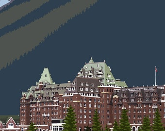 Banff, Canada - Banff Springs Hotel (Art Prints available in multiple sizes)