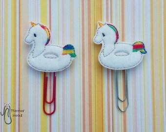 Unicorn pool floaty planner clip, unicorn inflatable paper clip, unicorn planner supplies / accessories, unicorn paperclip, pool floaty