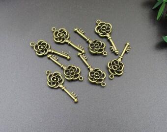 20Pcs 26x10mm Bronze Key Charms 2 Sided-p1136-A