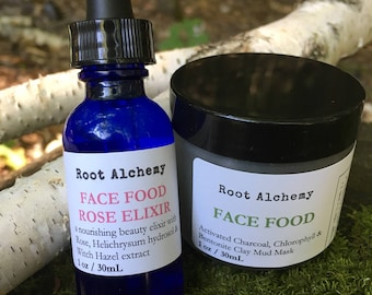 Face Food DUO; Activated Charcoal Mud Mask; Nourishing Chlorophyll Mask with Rose Elixir; Rose Face Mask