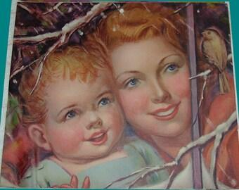 1940's Calendar Art Print-Mom & Baby Watching Winter Songbird