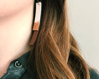 Double Bar Leather Earring, Metallic Accent - Faux Leather - Handmade