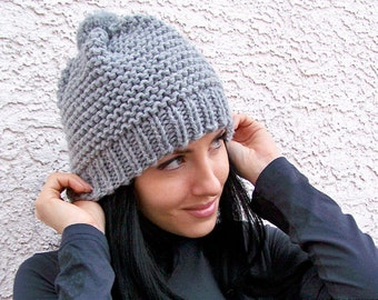 Knit Hat With Pom Pom Hat, Chunky Knit Hat, Slouchy Beanie Hat, Chunky Hat, Pom Beanie, Knit Slouch Hat, Knit Slouch Beanie Knit Slouchy Hat