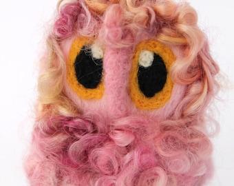 Owl Baby, Pink Powder Puff, Needle Felted OOAK Owl Baby in Hand Dyed Wensleydale Wool