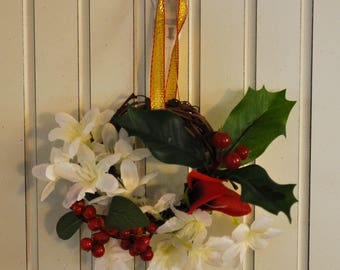 Christmas Ornament or Wreath: 3-Inch Grapevine Wreath with Red & White Flowers, Red Berries, and Holly with a Gold Ribbon