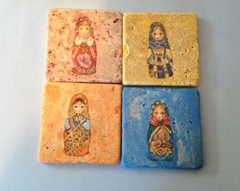 Tile Coasters, Matryoshka, nesting dolls, set of four