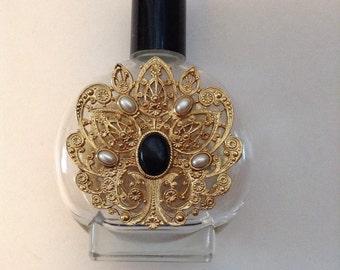 Vintage Bohemian Gold Filigree Perfume Bottle