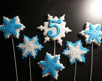 Frozen custom snowflake wire cake decorations edible glitter and fondant